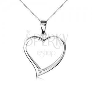 Náhrdelník striebro 925 - retiazka, obrys asymetrického srdca, zirkón