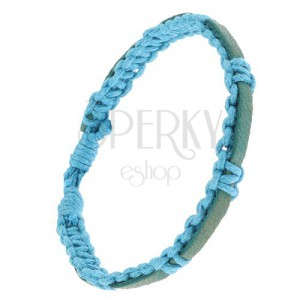 Pletený svetlomodrý náramok zo šnúrok, modrozelený pás kože