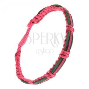 Náramok - ružový šnúrkový remienok, zelené a fuksiový pás kože
