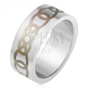 Matný oceľový prsteň striebornej farby, sivý ornament z obrysov sĺz