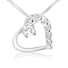 Šperky eshop - Náhrdelník, retiazka a obrys srdca s čírou a zirkónovou polovicou, striebro 925 S49.09