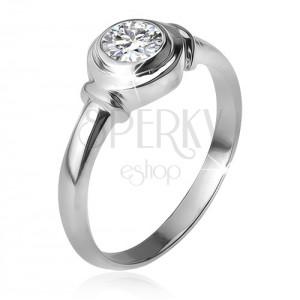 Strieborný prsteň 925, okrúhla objímka so zirkónom, dve obrúčky