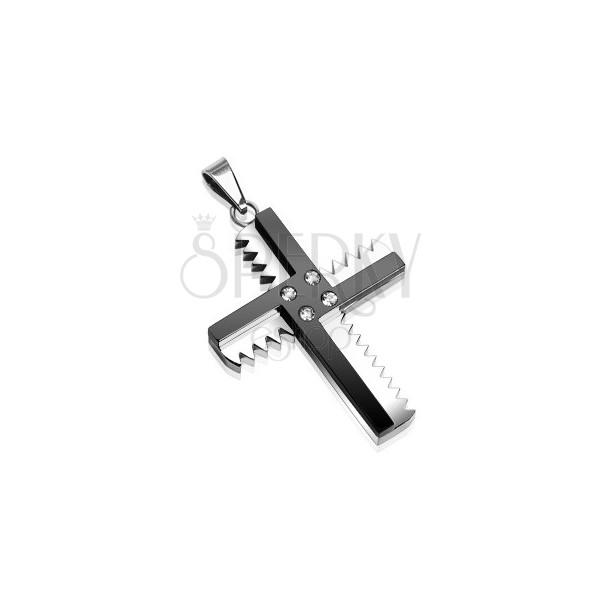 Prívesok z chirurgickej ocele - kríž so zúbkami