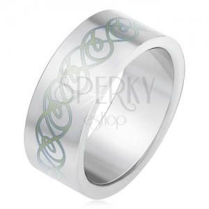 Oceľový prsteň, matný rovný povrch, ornament zo zatočených línií