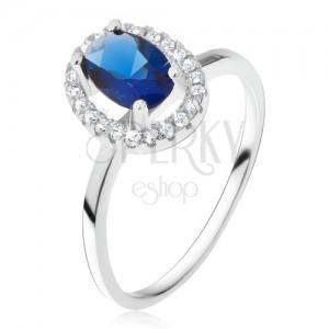 Prsteň zo striebra 925, oválny modrý kameň so zirkónovým rámom
