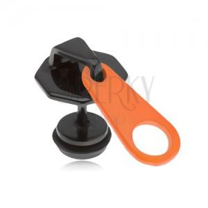 Čierny falošný plug do ucha z ocele, oranžovo-čierny zips, PVD úprava