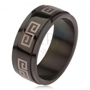 Lesklý čierny prsteň z ocele 316L, vyvýšený pás s gréckym kľúčom