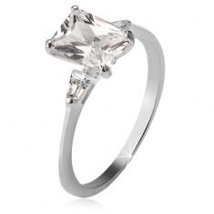 971c5c890 Šperky eshop - Strieborný prsteň 925, obdĺžnikový a dva trojuholníkové  kamienky U6.10 -