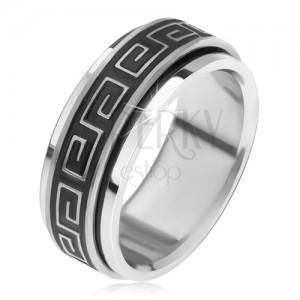 Oceľový prsteň, krútiaca sa obrúčka s gréckym kľúčom, patina