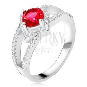 Prsteň s rozdvojenými ramenami, červený kameň, štvorec, striebro 925