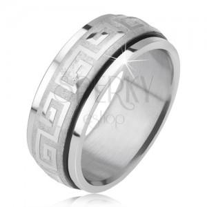 Lesklý prsteň z ocele 316L, saténová točiaca sa obruč, grécky kľúč