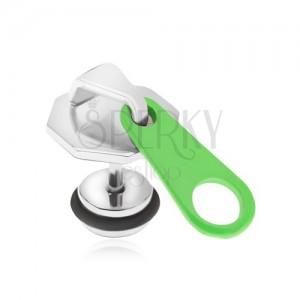 Oceľový fake plug do ucha, zips s neónovozeleným jazýčkom