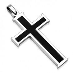 Šperky eshop - Prívesok z chirurgickej ocele - kríž s čiernym stredom AA08.25