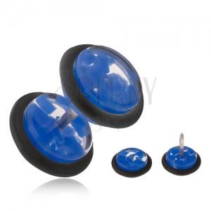 Falošný plug do ucha, číre akrylové kolieska s modrými úlomkami
