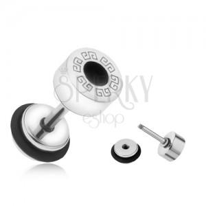 Okrúhly falošný plug do ucha z ocele, grécky kľúč, čierny kruh, 6 mm