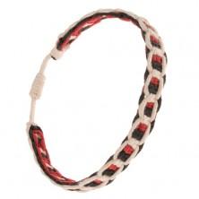 Bielo-červeno-čierny náramok zo šnúrok, vodorovné a zvislé línie