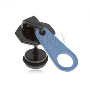 Fake plug do ucha z ocele, čierno-modrý zips, PVD úprava