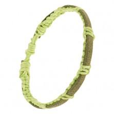 Neónovozelený šnúrkový náramok, pletený, zelenohnedý kožený pás