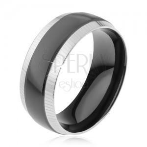 Prsteň z ocele 316L, ryhované okrajové pásy, lesklý čierny pruh