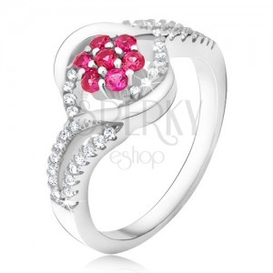 Prsteň zo striebra 925, ružový zirkónový kvet, pery