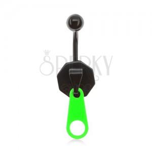 Oceľový piercing do bruška, čierno-zelený zips