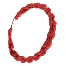Červený náramok zo zapletaných motúzikov, kruhový vzor