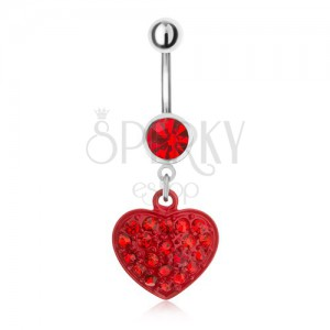 Oceľový piercing do pupku, červený kamienok a zirkónové srdce