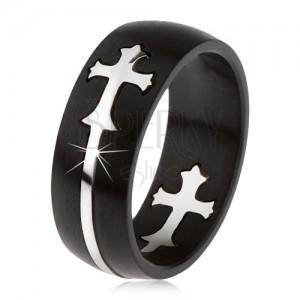 Matný čierny oceľový prsteň, vyrezávaný kríž striebornej farby