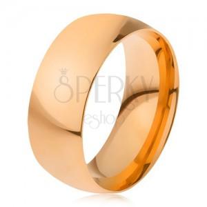 Obrúčka z ocele 316L zlatej farby, lesklý hladký povrch, 8 mm