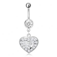 Oceľový piercing do pupka s príveskom, číre zirkónové srdce