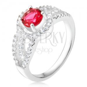 Prsteň striebro 925, červený kameň so zirkónovým rámom, oblé línie
