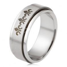 Oceľový prsteň, matná točiaca sa obruč, keltské symboly