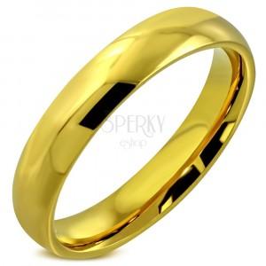Oceľový prsteň s lesklým hladkým povrchom zlatej farby, 4 mm