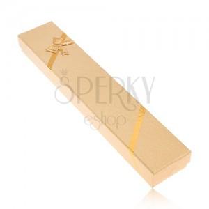 Lesklá zlatá krabička na retiazku, vzhľad tkaniny, mašľa