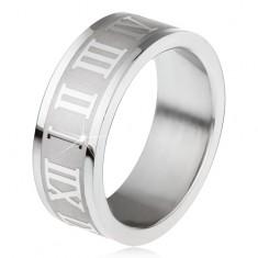Oceľový prsteň, gravírovaný pás s rímskymi číslami