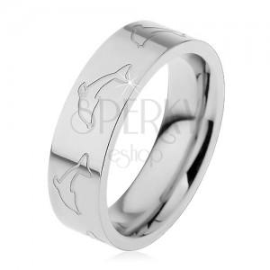 Prsteň z ocele 316L, matný povrch, obrysy delfínov