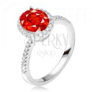 Prsteň zo striebra 925, vystúpený zirkónový kotlík, červený kameň