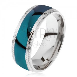 Oceľový prsteň, lesklý azúrový pás, ryhované okraje