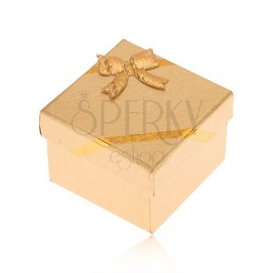 Darčeková krabička na prsteň, povrch zlatej farby, mašľa