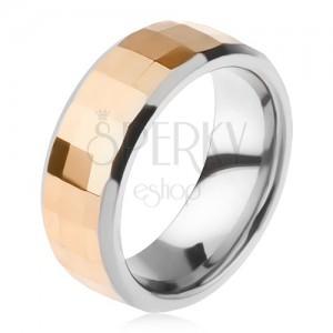 Volfrámový prsteň - dvojfarebný, geometricky brúsený pás zlatej farby
