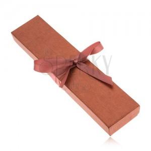 Hnedá trblietavá krabička na náhrdelník, lesklá stužka