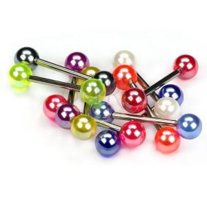 Piercing do jazyka, farebné perleťové guličky
