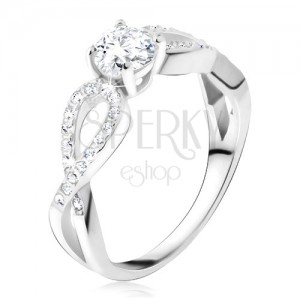 Prsteň s čírym okrúhlym kameňom, zirkónové slučky, striebro 925