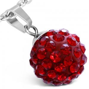 Oceľový prívesok - červená Shamballa gulička