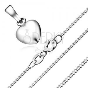 Náhrdelník - súmerné srdce a retiazka zo zatočených očiek, striebro 925
