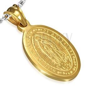 Oválny oceľový medailón zlatej farby, nanebovzatie Madony, 15 x 22 mm