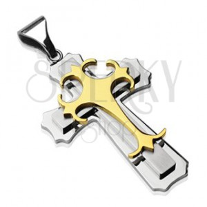 Prívesok z chirurgickej ocele - kríž kombinácia ocele zlatej a striebornej farby