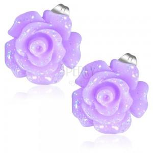 Oceľové náušnice, trblietavý kvet ruže fialovej farby