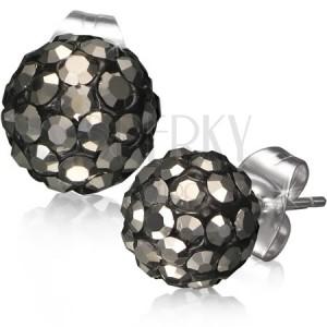 Oceľové náušnice, čierna Shamballa gulička, sivé brúsené kamienky