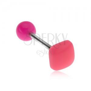 Piercing do jazyka, lesklý vypuklý štvorec neónovoružovej farby